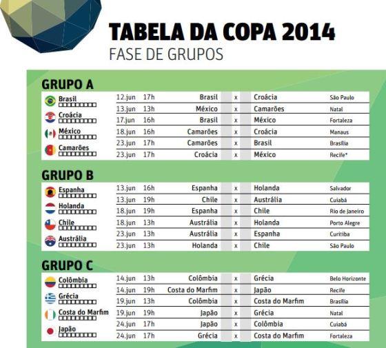 baixar imprimir tabela Copa do Mundo 2014